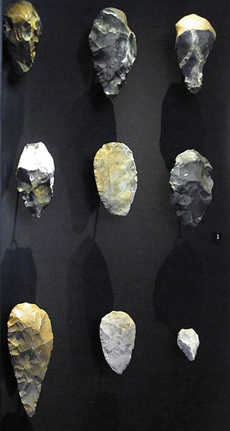 Prehistoric Europe - Acheulean hand axes and hand axe-like implements, flint, 800,000–300,000 BP