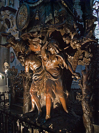 Hendrik Frans Verbrugghen - Adam and Eve expelled from Eden, detail of the pulpit carved by Hendrik Frans Verbruggen in 1699, St. Michael and St. Gudula Cathedral, Brussels, Belgium.