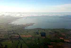 Lake Ellesmere / Te Waihora - Aerial view of Lake Ellesmere / Te Waihora