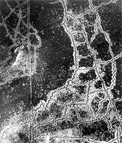 Aerial view Loos-Hulluch trench system July 1917