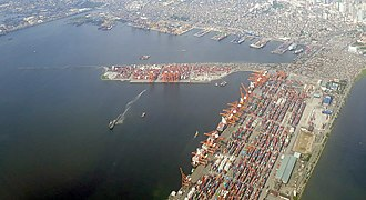 Aerial view of the Port of Manila, the chief port of the Philippines. Aerial view of the port of Manila, 2019.jpg