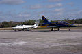 Aero Vodochody L-39C Albatros Blue7 Taxi In 08 past Aero Vodochody L-29 Delfin TICO 13March2010 (14412813529).jpg