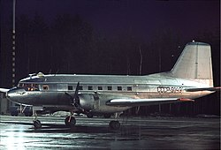 Aeroflot Ilyushin Il-14 at Arlanda, November 1970.jpg