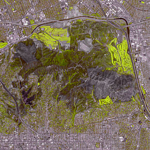 Griffith Park - Aftermath of the 2007 fire. Both visible and infra-red wavelengths of light have been used to make this satellite image. Vegetation appears in various shades of green, while the burned areas appear charcoal.