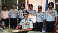 Air Marshal S.S. Soman with PSOs and IFA in his Office, on taking over as Air Officer Commanding-in Chief, Western Air Command, IAF, in New Delhi on July 01, 2013.jpg
