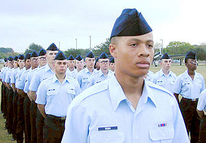 Airman Basic - In October 2000, airmen basic stand in formation, awaiting graduation. An airman basic wears no rank insignia.