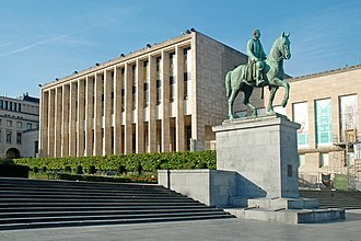 Mont des Arts - Royal Library of Belgium and statue of King Albert I