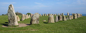 Panoramic view of Ale's Stones in Scania, southern Sweden. This ship setting is a Vendel Period burial monument, most likely dating from the 7th century CE.