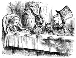 "John Tenniel's illustration for ""A Mad Tea-Party"", 1865"