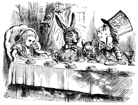 Sir John Tenniel's March Hare with Alice, the Dormouse, and the Hatter from Alice's Adventures in Wonderland, 1865 Alice par John Tenniel 25.png