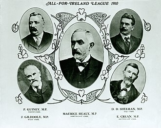 "Maurice Healy - All-for-Ireland League group portrait of five of its Independent Members of Parliament after Maurice Healys March 1910 by-election win in North East Cork, published in the ""Cork Free Press"" issue 30 July 1910.  The other MPs pictured are: Patrick Guiney (North Cork), James Gilhooly (West Cork), D. D. Sheehan (Mid Cork), and Eugene Crean (South-east Cork).  At the December 1910 general election Maurice Healy was returned for (Cork city). His elder brother, Timothy Healy, was also an All-for-Ireland League MP, first for North Louth and later for North East Cork."