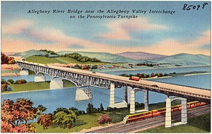 Allegheny River Turnpike Bridge - The original Turnpike Bridge in a contemporary postcard