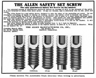 Set screw - This advertisement (from 1913) illustrates various set screw point types.