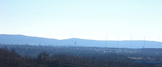 South Mountain (eastern Pennsylvania) - South Mountain as viewed from Egypt, with Allentown in the foreground
