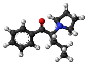 Alpha-Pyrrolidinopentiophenone - Image: Alpha PVP molecule ball