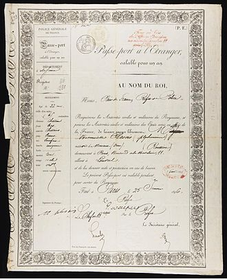 Marie Duplessis - Passport issued to Alphonsine Plessis, January 1846