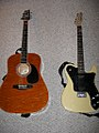 Alvarez acoustic guitar, Squier Telecaster Custom II with P90.jpg