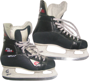English: amateur ice hockey skates with transp...