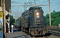 Amtrak GG1 at Metuchen station, July 1974.jpg