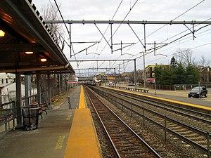 Hyde Park (MBTA station) - Looking inbound from the short high-level platforms