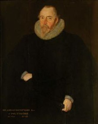 """Amyas Bampfylde - Sir Amyas Bampfylde (died 1626), portrait by Robert Peake the elder (ca. 1551–1619), inscribed: """"Sir Amias Baumfylde Knt. of Poltimore, ob. 1625 aet. 65"""". Collection of National Trust, displayed at Antony House, Cornwall"""
