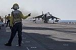 An AV-8B Harrier takes off from the flight deck of the amphibious assault ship USS Wasp (LHD 1) (28874857510).jpg