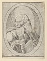 An apostle seen in profile facing right, holding an open book, in an oval frame, from Christ, the Virgin, and Thirteen Apostles MET DP837900.jpg