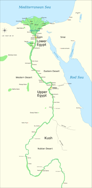 Resourcesforhistoryteachers - Map of egypt showing upper and lower