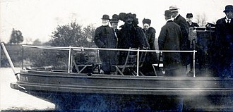 Lake Carnegie (New Jersey) - Andrew Carnegie (left) and Princeton University officials at Lake Carnegie's dedication ceremony on December 5, 1906.