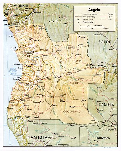 Map of Angola By CIA [Public domain], via Wikimedia Commons