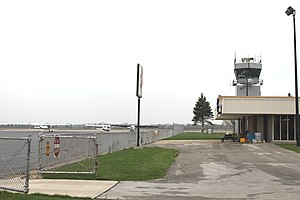 Ann Arbor Municipal Airport - Airport control Tower, passenger terminal and tarmac