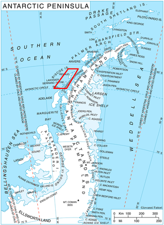 Biscoe Islands - Location of Biscoe Islands in the Antarctic Peninsula region