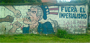 Pax Americana - Street art in Caracas, depicting Uncle Sam and accusing the American government of imperialism