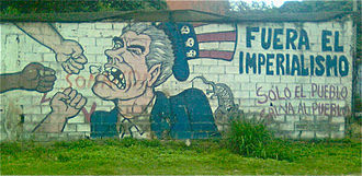 Latin America–United States relations - Street art in Venezuela, depicting Uncle Sam and accusing the U.S. government of imperialism