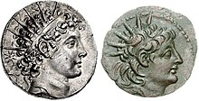 Two coins. Obverses are shown. To the left, a coin of Antiochus VI depicting him wearing a headdress in the shape of sun rays. On the right, a coin of Alexander II depicting him wearing the same headdress