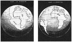 Antonio Snider-Pellegrini's Illustration of the closed and opened atlantic ocean (1858).