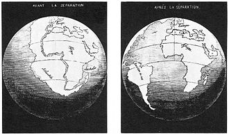 Continental drift - Antonio Snider-Pellegrini's Illustration of the closed and opened Atlantic Ocean (1858).