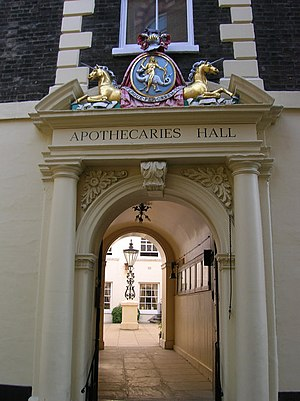 Worshipful Society of Apothecaries - Entrance to Apothecaries' Hall