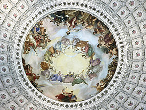 The Apotheosis of Washington - The Apotheosis of Washington, as seen looking up from the capitol rotunda