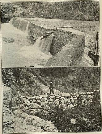 Santiago Creek - Low rock dam on Santiago Creek in Irvine Regional Park (c. 1917)