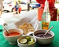 Appetizers - Tortilla Chips, Salsa Picante, Black Beans and Fresh Limes.jpg