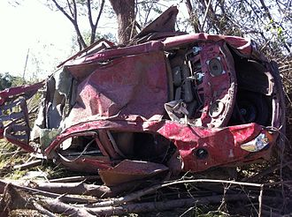 2011 Super Outbreak - A car that was thrown against a stand of trees by the Philadelphia tornado.