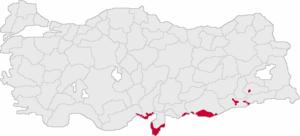 Arabs in Turkey - Traditional settlement areas