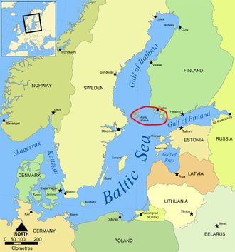 Archipelago Sea - The Baltic Sea with the Archipelago Sea marked in red. Most of the islands are not visible in this resolution.