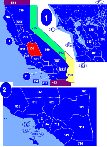 Map of California area codes in blue (and border states) with 559 in red