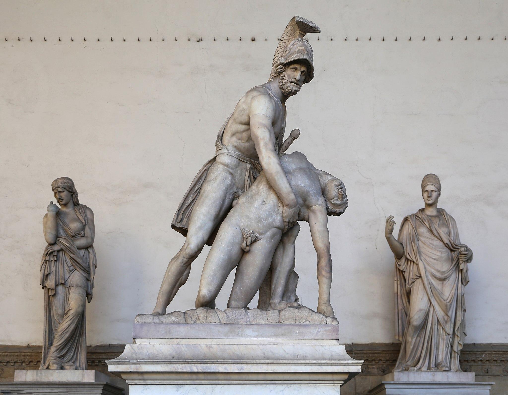 Arte romana, menelao che sorregge il corpo morto di patroclo, età flavia, da un orig. greco del 240-230 ac ca., rataurata da ludovico salvetti su indicaz. di p. tacca (1640) e da stefano ricci (1830 ca.) 01