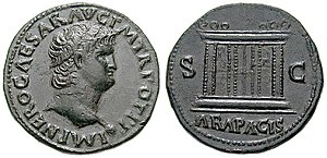 Nero coin, c. 66. Ara Pacis on the reverse.