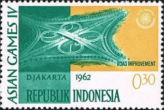 1962 Asian Games - A stamp of Indonesia claiming road improvement for the 1962 Asian Games