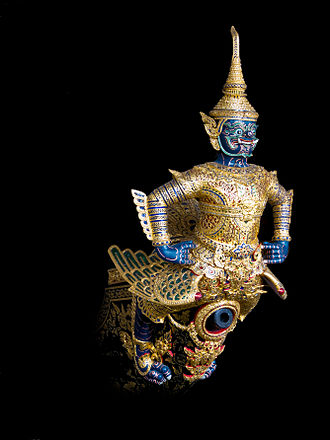 Asura - The concept of Asura-Devas migrated from India to southeast Asia in 1st millennium CE. Above Vayuphak Asura, from the Hindu epic Ramayana, represented in Thailand.