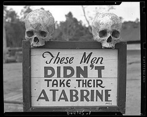 Mepacrine - These men didn't take their Atabrine (as anti-malaria drug); this sign was posted at the 363rd Station Hospital on Papua, New Guinea during World War II